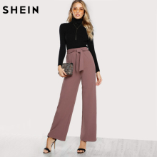 SHEIN Self Tie Palazzo Pants Pink Elegant High Waist Autumn Elastic Waist Casual