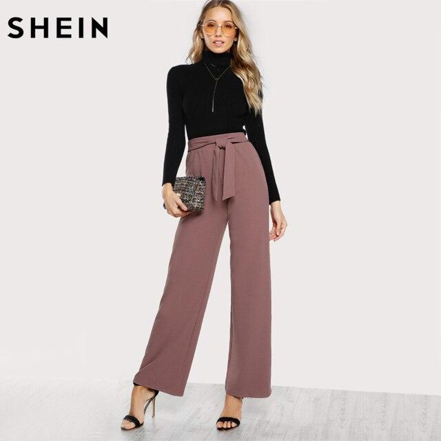 fadb2780eddc SHEIN Self Tie Waist Palazzo Pants Pink Elegant High Waist Pants Autumn Trousers  Women Elastic Waist Casual Pants