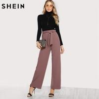 SHEIN Self Tie Waist Palazzo Pants Pink Elegant High Waist Pants Autumn Trousers Women Elastic Waist