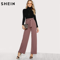 SHEIN Self Tie Waist Palazzo Pants Pink Elegant High Waist Pants Autumn Trousers Women Elastic Waist