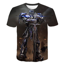 Summer 2019 new 3d printed transformers optimus prime T-shirt mens casual fashion personality