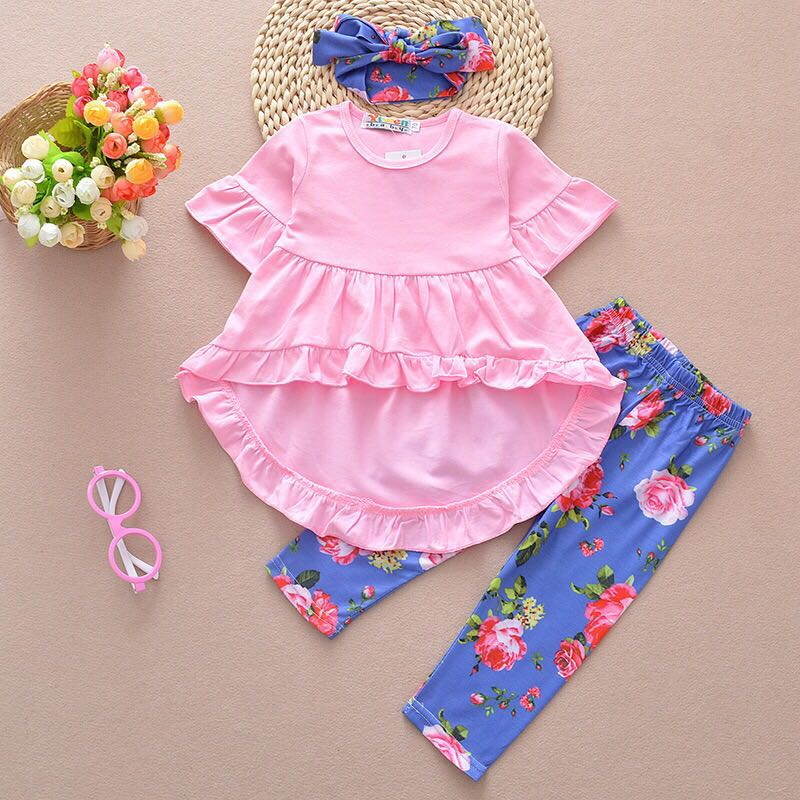 Newborn Baby Girls Clothes Sets Cotton dressTop Short Sleeve Flower Pants Headband 3PCS Outfits Children's Kids Clothing Sets