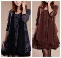 Новый 2016 элегантный большой размер одежды осень и зима цельный dress большой размер свободные зима dress мода женский dress XXXL S596