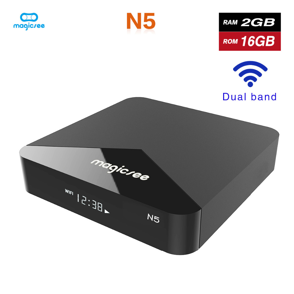 Magicsee N5 Android 7,1 ТВ BOX Amlogic S905X Quad-core 4 K Разрешение 2 Гб Оперативная память 16 Гб Встроенная память 2,4G 5G Wi-Fi Декодер каналов кабельного телевидения