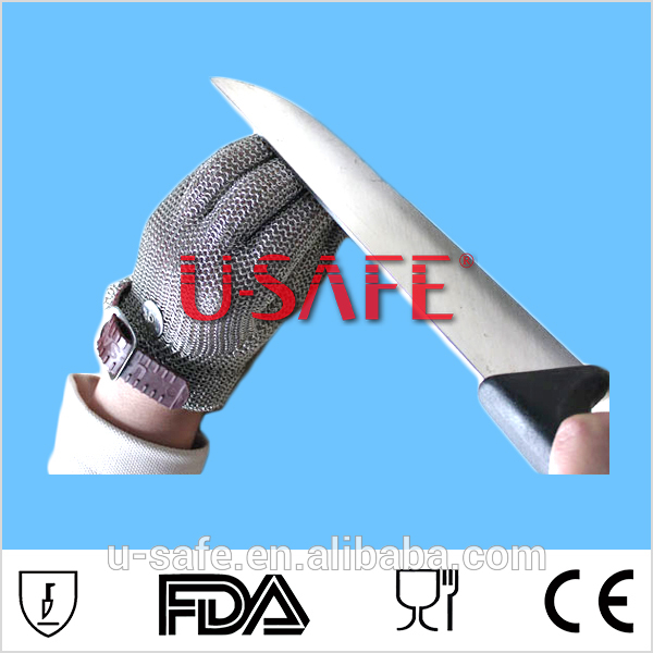 Top quality stron strong strap No Fabric - Chainmail Mesh Butcher Glove - Sizes XXS to XL Available - ISO, FDA Compliant