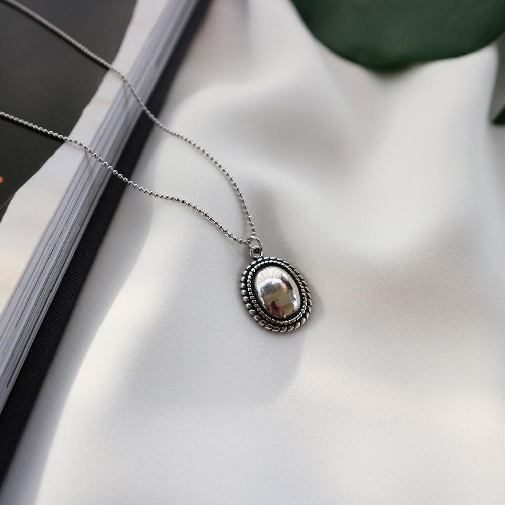 Eerlijkheid 1 Pc Retro Authentieke 925 Sterling Zilver Vintage Twisted Roped Ovale Geometrische Hanger Ketting Bead Chain Fijne Sieraden X118 Ongelijke Prestaties