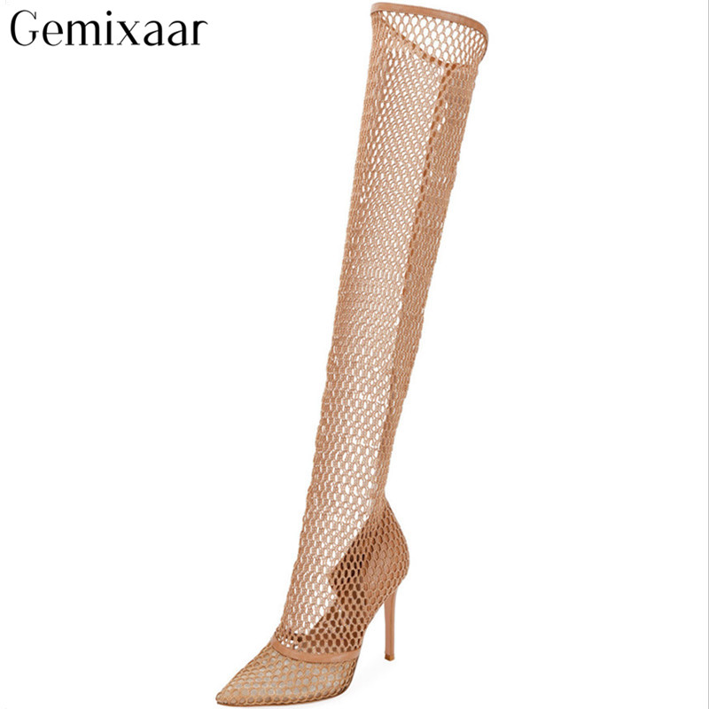 Gold Air Mesh Over The Knee Boots Pointed Toe High Stiletto Heels Botines Mujer Sexy Nets Working Long Stage Botas WomenGold Air Mesh Over The Knee Boots Pointed Toe High Stiletto Heels Botines Mujer Sexy Nets Working Long Stage Botas Women