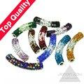 O Envio gratuito de 38 ~ 47mm Presente que dá cor gradiente Barro Disco Pave Longo de Cristal Shamballa Tube Bending Beads fit pulseira colar