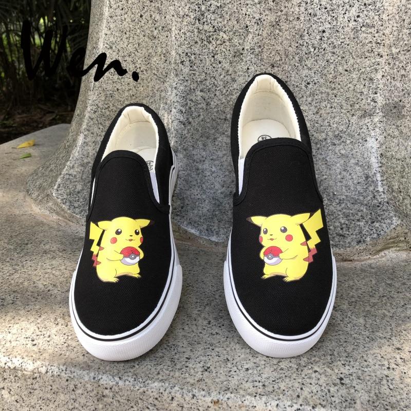 buy online 306ff b257e Wen Pokemon GO Design Anime Shoes Slip On Skateboarding Shoes Custom Pikachu  Canvas Sneakers for Man Woman s Cosplay Shoes
