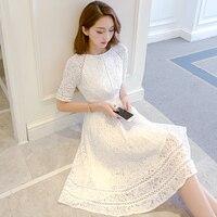 White Dress Ladies Tunic Flora Big Swing Party Dress Women Cotton Hollow Embroidery Short Sleeve Dress