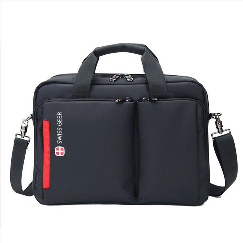 ФОТО Quality Swiss Briefcase Laptop Business Woman Man Carrying Case Nylon Light Canvas College Black Classic Style Large Waterproof