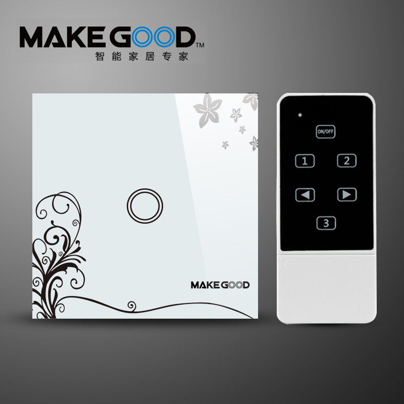 MakeGood Smart Switch EU standard 1 Gang 2 Way ,Touch Light Switch with blue LED indicator, Glass Panel Smart Light Remote contr makegood eu standard smart remote control touch switch 2 gang 1 way crystal glass panel wall switches ac 110 250v 1000w