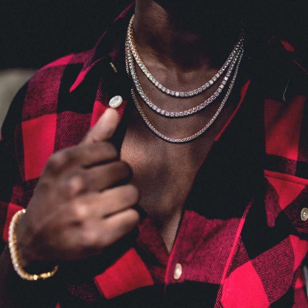 """24 """"cal 5mm okrągła cyrkonia CZ hip hop bling chłopiec mężczyźni biżuteria najwyższej jakości Rock Bling iced out krzyż wisiorek naszyjnik tenisowy"""