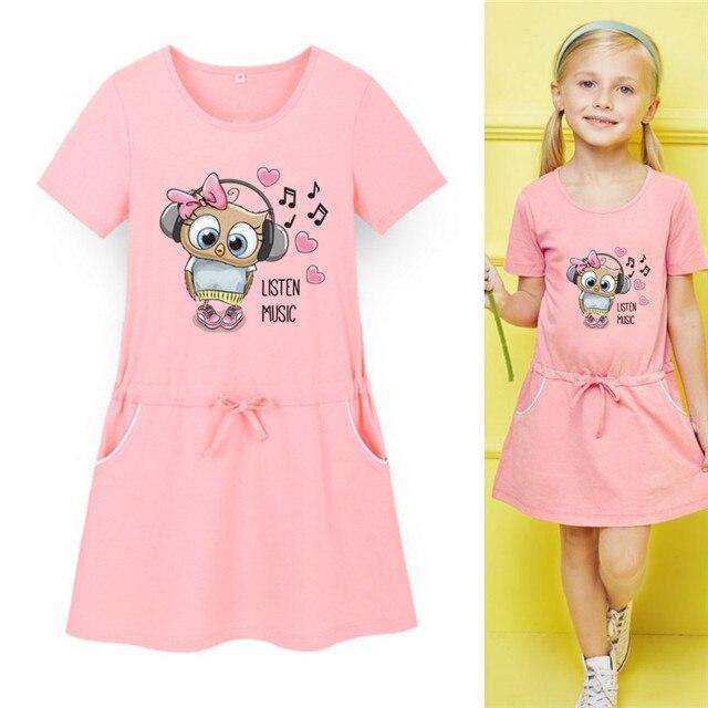 dae014bae9 Nowy Arrivel Dziewczynek Lato Mini Suknia Sportowe Dla Dzieci Powyżej Kolana  Sukienka Śliczna Muzyka sowa Drukuj