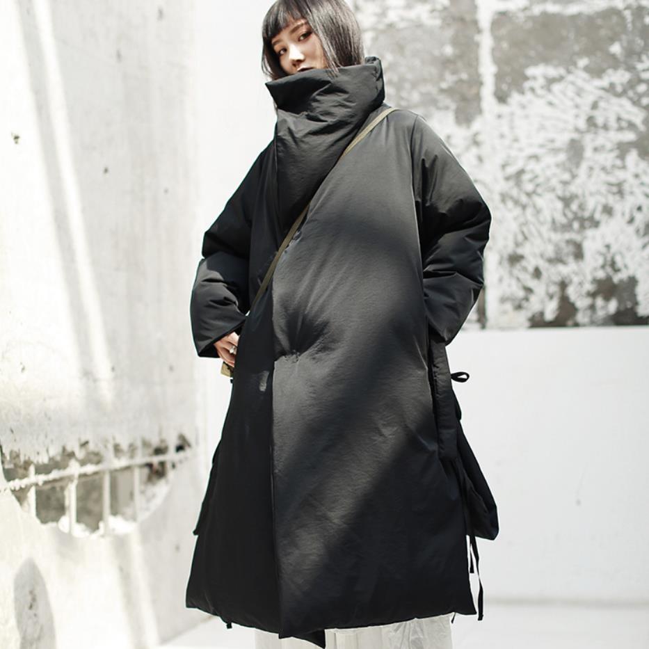Lâche À Nouveau Mode Longues Cordon rembourré Veste 2019 Noir Hiver Black Manches Manteau Marée Col Femmes De Stand Coton Automne SzpMqVU
