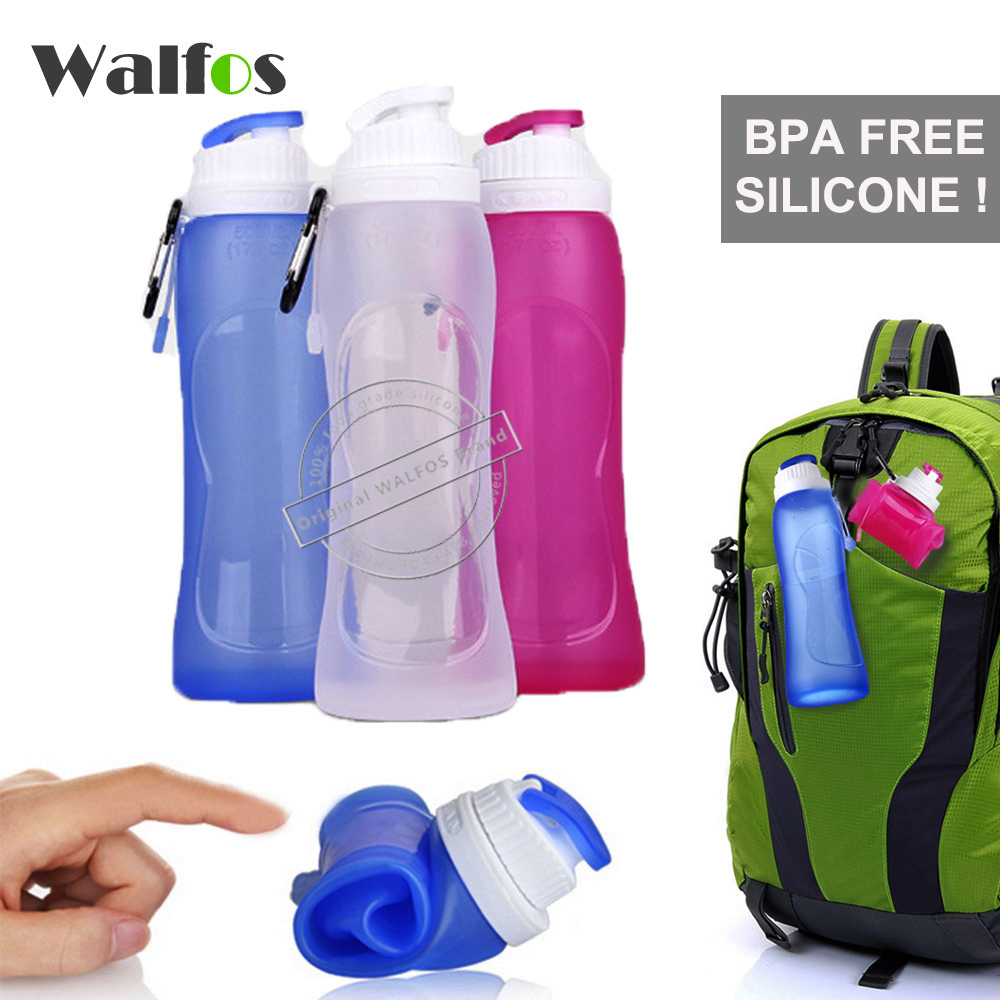 WALFOS Food Grade 500ML Creative Collapsible Foldable Silicone drink Sport Water Bottle Camping Travel my plastic bicycle bottle