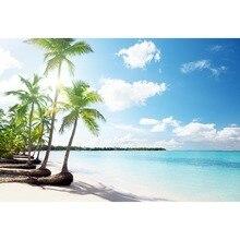 Hawaiian Style Fotografia Fundo do Céu Azul Claro Água Palmeira Na Praia Pano de Fundo Para O Profissional Photo Booth Props