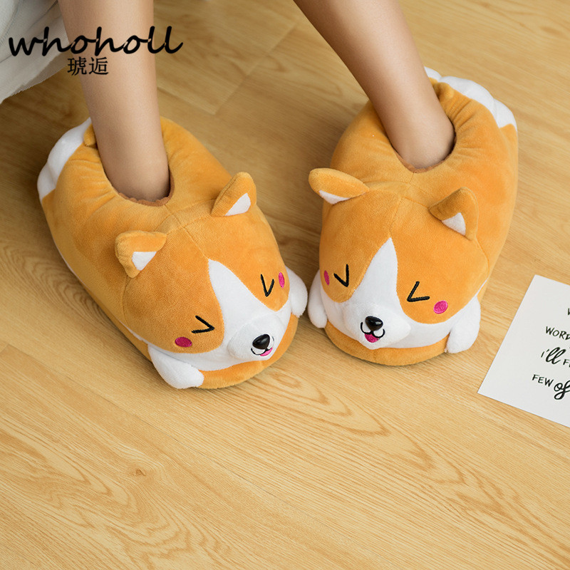 Homen Chinelos Feminino Chinelos de Pelúcia Inverno Corgi Mulheres Piso Interior Sapatos Quentes Bonito Chinelos Engraçadas Adultos Zapatillas Planas Mulher