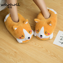 цены Homen Slippers Female Winter Plush Corgi Slippers Warm Women Floor Indoor Shoes Cute Funny Adult Slippers Flat Zapatillas Woman