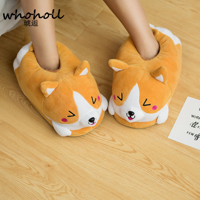 2d2f0e18a0b Homen Slippers Female Winter Plush Corgi Slippers Warm Women Indoor Shoes  Cute Funny Adult Slippers Flat