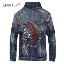 ABOORUN Мужская модная джинсовая куртка с вышивкой рваные приталенная джинсовая куртка весна осень пальто для мужчин x427