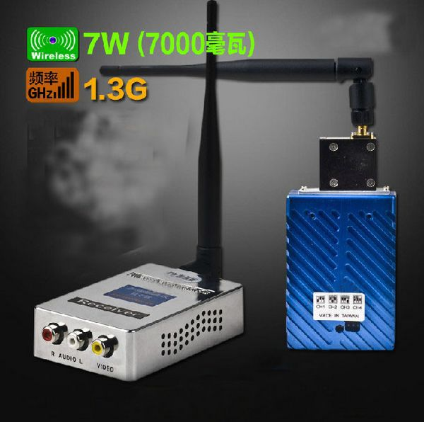 FM 1.3G 7W Link Wireless Transmission Of Audio And Video Wireless Transmitter And Receiver  Free Shipping