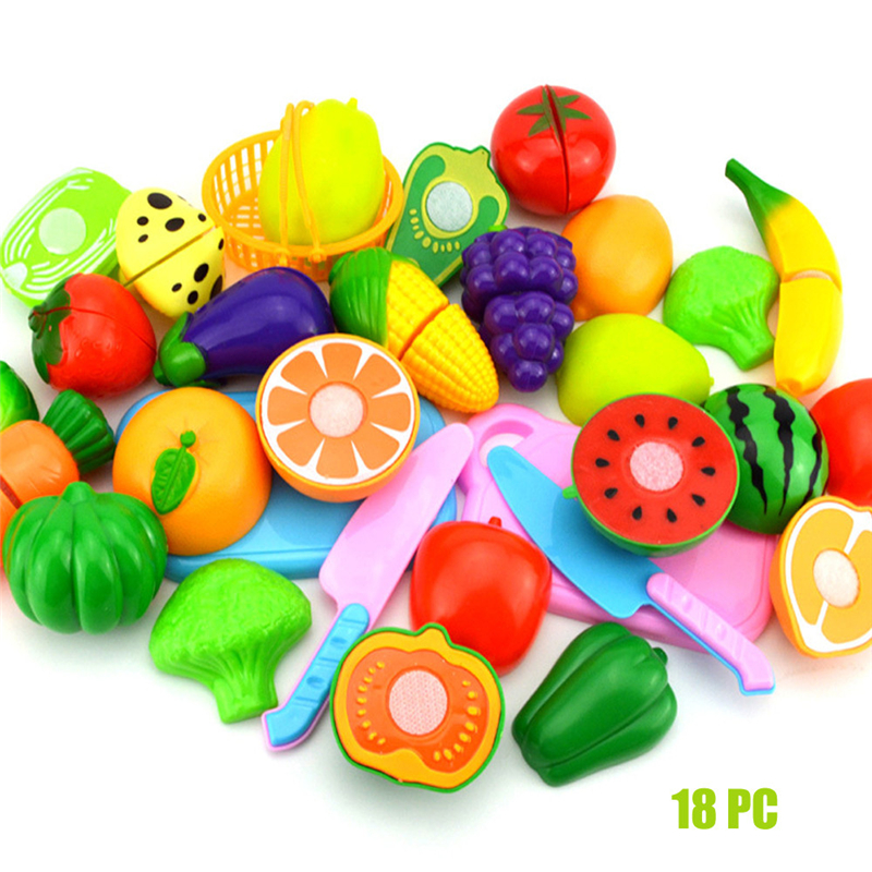 18 PCS Safety Plastic Kids Pretend Role Play Kitchen Fruit Vegetable Food Toy Cutting Set Gift Kids Toys For Children Fun Play