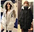 Женщин по беременности и родам пуховик пальто Большой размер длинную одежду для беременных пальто куртки зимний черный верхняя одежда манто беременна