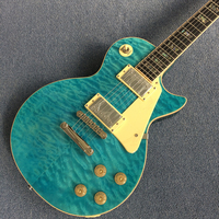 Custom electric guitar, Ebony fingerboard Real Abalone inlays, one piece body and neck,Bule Burst color Quilte Maple top