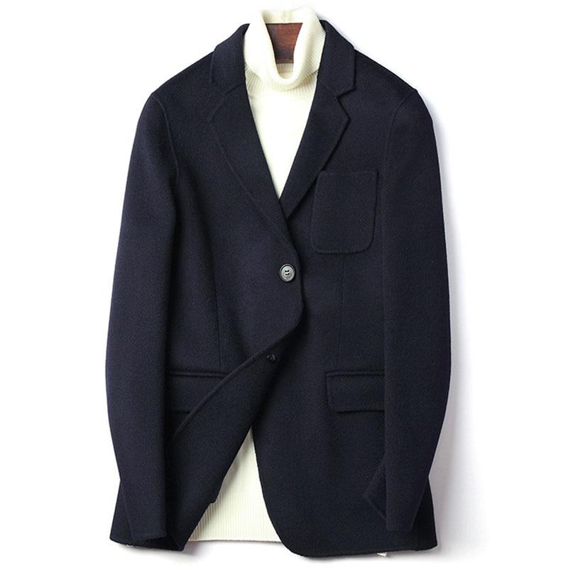 Double Face 100% Wool Coat Men Single Breasted Notched Collar Woolen Jacket Male Plus Size Wool Outerwear 2019 Autumn Winter