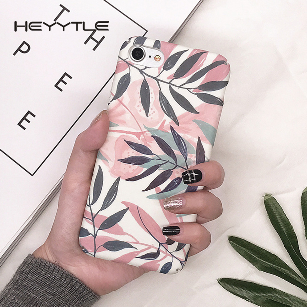 Heyytle Hot Flower Phone Case For Apple iPhone X 8 7 6S 6 Plus 5 5S 5C SE Tropical Plants Matte Slim Hard PC Back Cover Cases