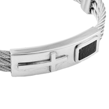 New 2019 Silver Stainless Steel Male Bracelet 3 Rows Wire Chain