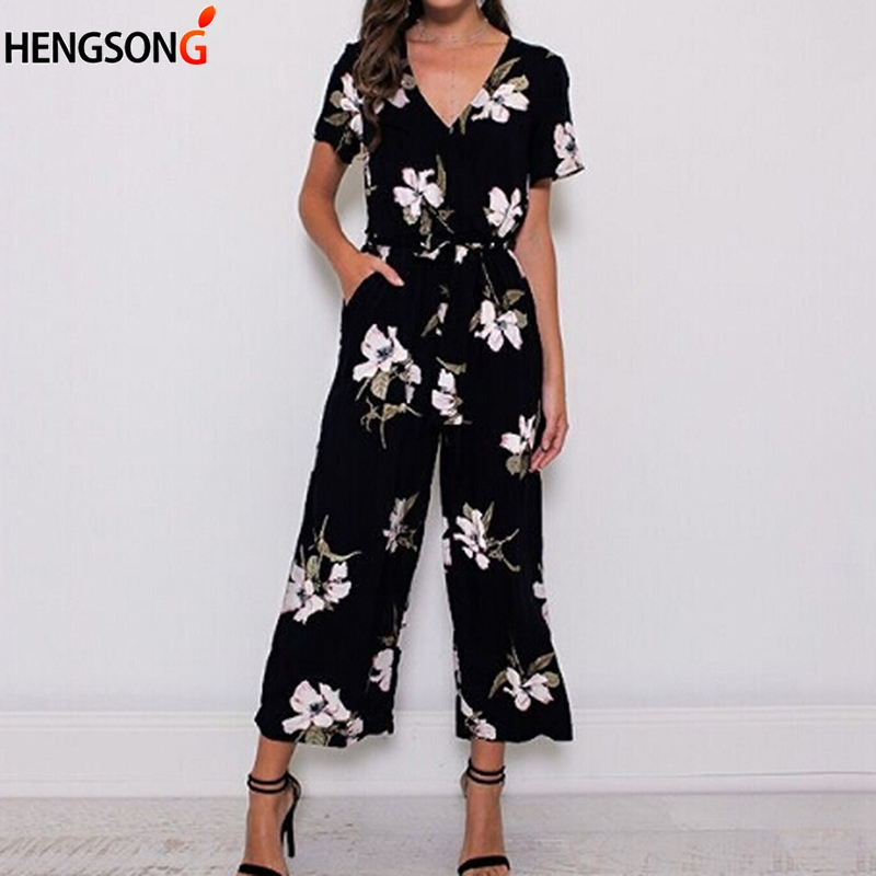 Fashion Women Romper New Summer Jumpsuit Plus Size Casual V Neck Beach Wear Printed Pocket Sashes Jumpsuit Overalls Office Lady
