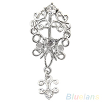 24 PCS Body Piercing Jewelry Belly Dance Rhinestone Crystal Dangle Navel Barbell Ring