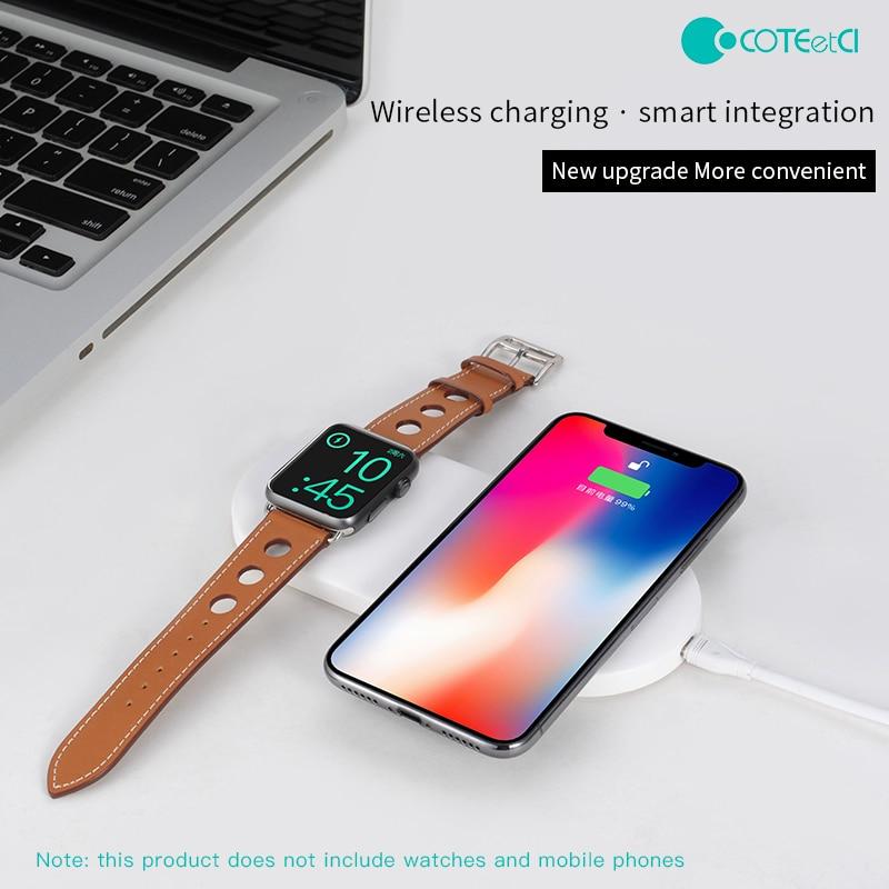 COTEetCI 2IN1 chargeur rapide sans fil chargeur de charge sans fil Base de chargeur d'induction pour Apple Watch Series 3/2 et iPhone X/8/8 Plus