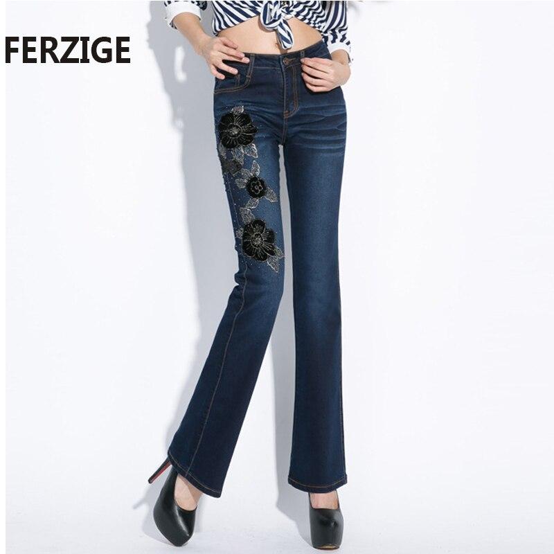 все цены на FERZIGE Autumn Woman Jeans Embroidered High Waist Stretch Beading Flared Pants Sexy Ladies Push Up Dark Blue Elegant Full Length