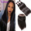 Brazilian Straight Weave With 360 Lace Frontal Brazilian Straight Virgin Hair With Frontal Closure 3 Bundles Straight 360Frontal