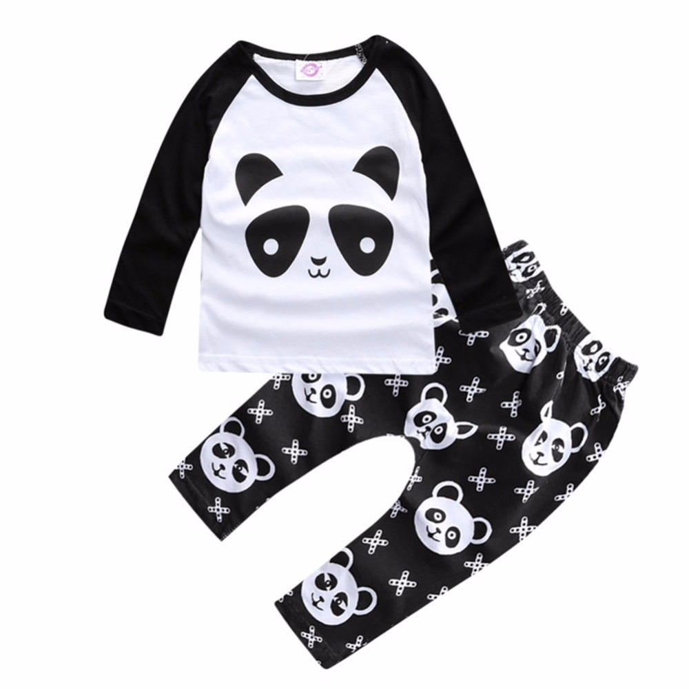 Cotton Children Clothing Set Baby Boy Long Sleeve Panda Tops T-shirt+Pants Suit Outfits