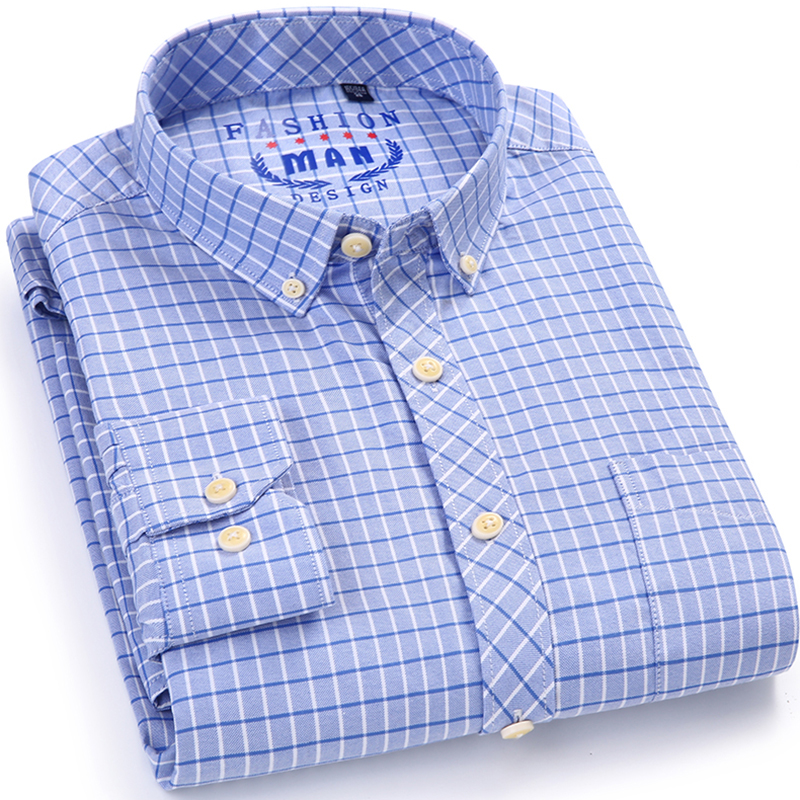 Plus Size Men s Plaid Striped Long Sleeve Oxford Dress Shirt with Left Chest Pocket Cotton