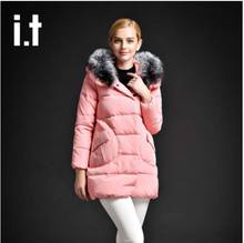 Новый 2016 зима теплая Сгущает Фокс меховым воротником длинные Ватные куртка Женщин высокого качества тонкий с капюшоном плюс размер хлопок AE660 пальто