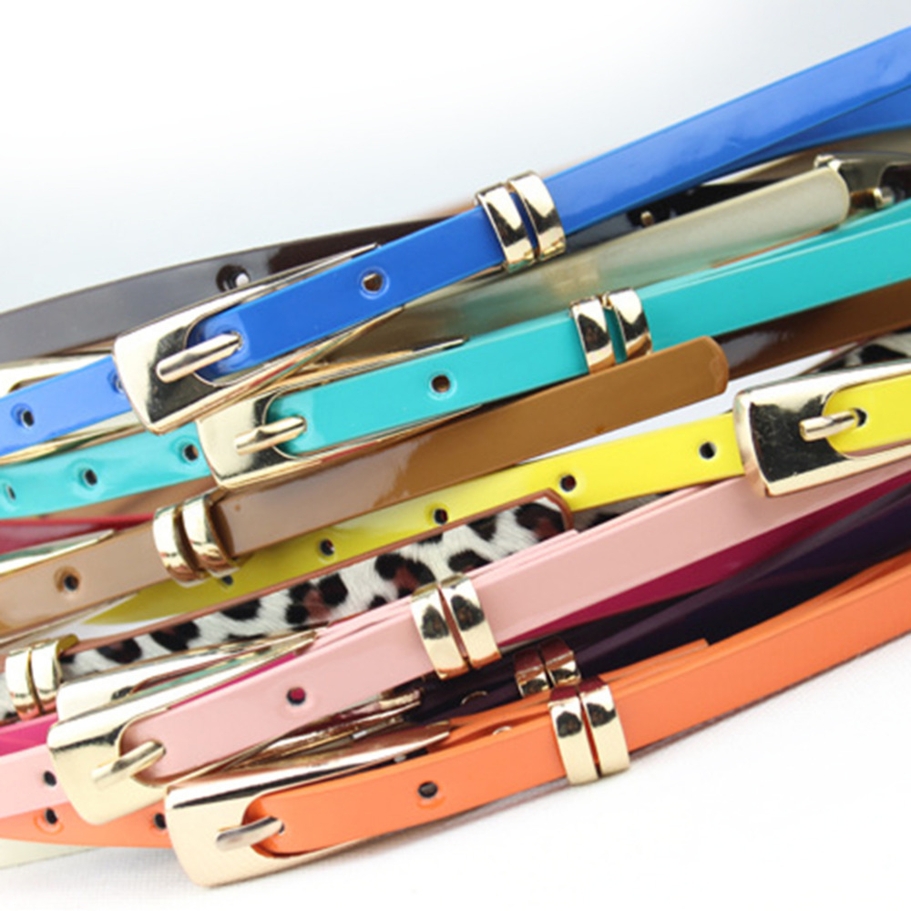 Fashion Skinny Neon Metal Buckle Brand Female PU Leather Thin Belt Woman Waistband Girdle Cummerbunds Waist Belts for Women