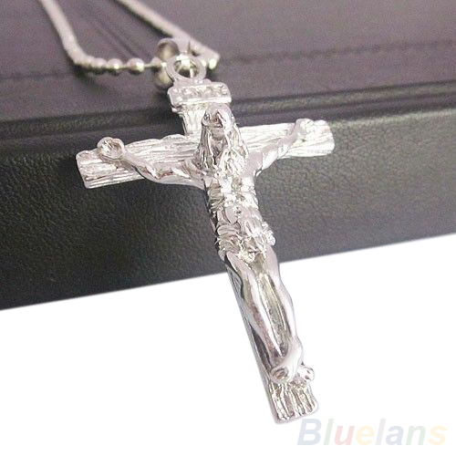 Men's Stainless Steel Silver Jesus Cross Chain Pendant Necklace 89ZF