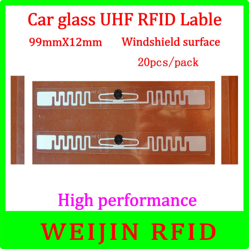 UHF RFID Tag Car glass 9912 99mm*12mm 20pcs per pack,can be used for Windshield surface Car management,free shipping. 50pcs 74 21mm rfid gen2 uhf paper tag with alien h3 chip used for warehouse management