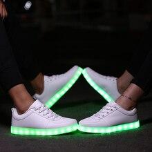 LEDรองเท้าผู้หญิงและผู้ชายLedส่องสว่างรองเท้าดาวลำลองระบายอากาศUSBชาร์จตะกร้าF Emmeสว่างขึ้นรองเท้าบริษัทโกลว์C Haussure