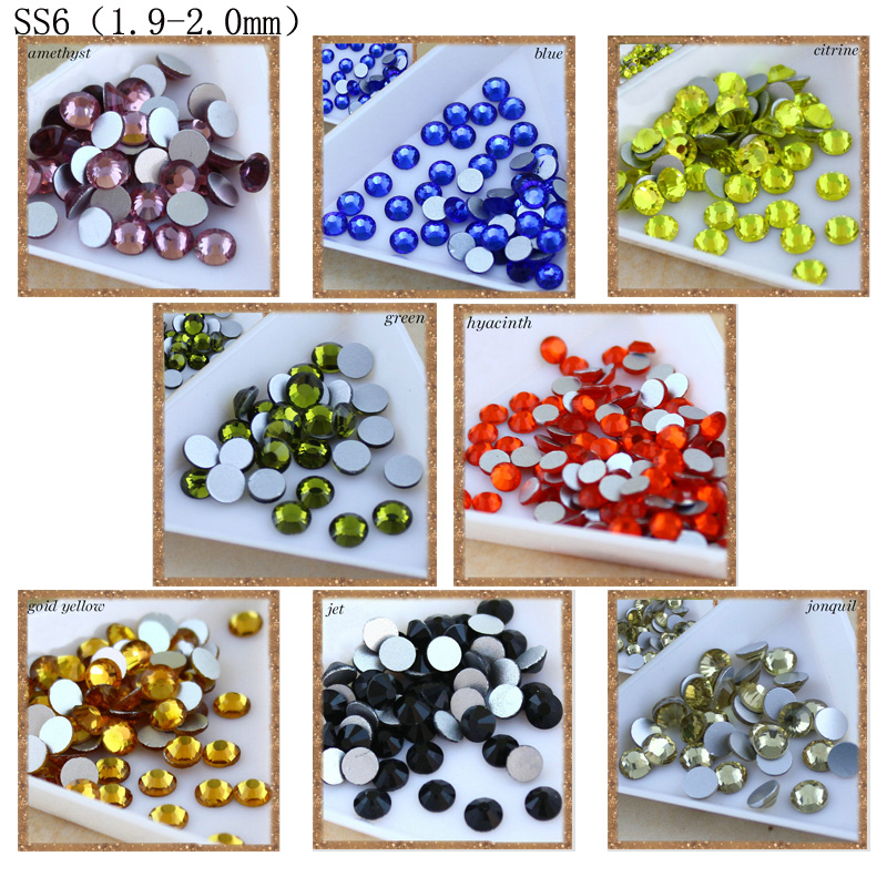 2017 Nueva Venta Crystal Color SS6 (1.9-2.0mm) No HotFix FlatBack Rhinestones 1440 unids Decoración colorida Rhinestone del clavo