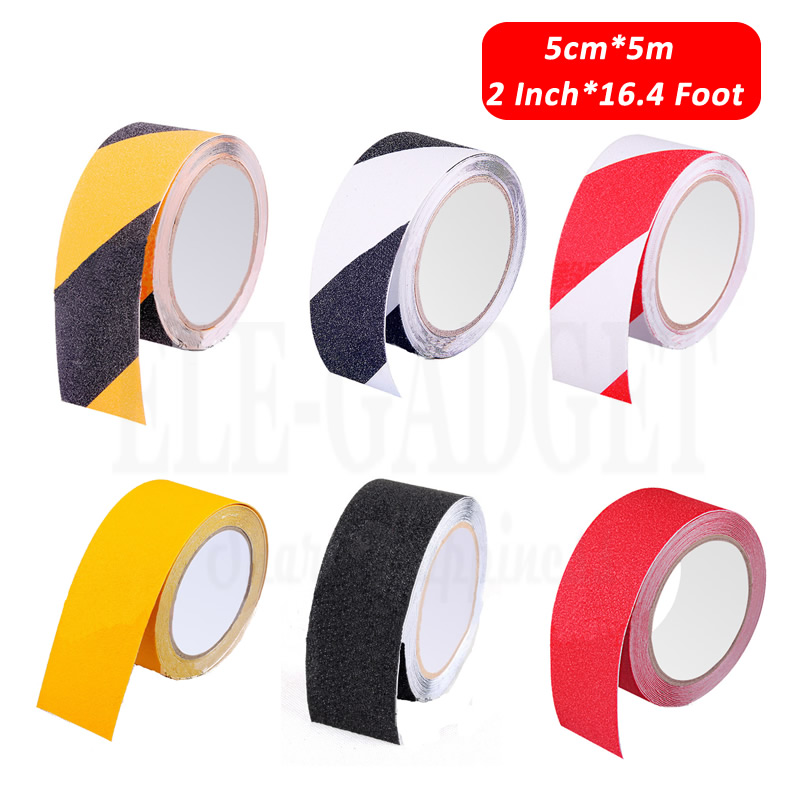 1-Roll 5cm*5m Anti-skid Warning Tapes Home Bathroom Stairs Skateboard Workplace Anti-Slip Tapes 4-Colors Working Safety Tapes