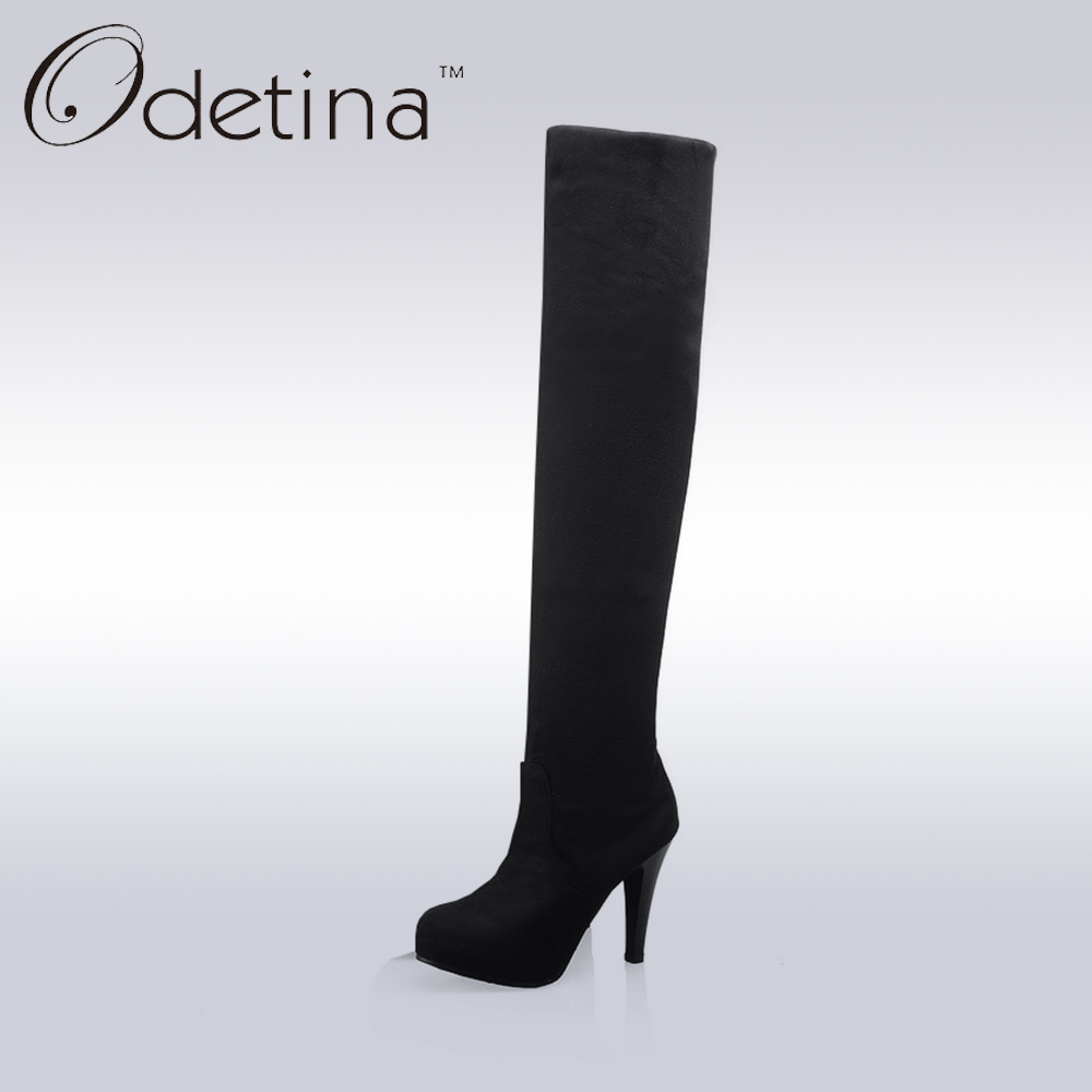Odetina Handmade Sexy Thigh High Boots Large Size Blue Over The Knee High Heel Boots Women 2016 Winter Warm Ladies Long Boots odetina 2017 new fashion autumn winter women thigh high boots blue denim over the knee boots high block heel shoes plus size 43