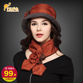 Lady winter and autumn cotton padded anti-snow hat  woman warm hat scarf for one set  ladies' fashion hat scarf  B-0778