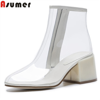 ASUMER big size 34-43 fashion spring autumn shoes woman round toe zip ankle boots women thick high heels pvc ladies prom boots