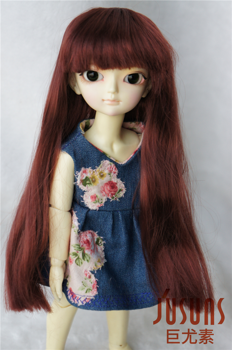 1/6 doll wig  Lati Green BJD wigs 6-7inch Long straight  hair with full Bangs  Synthetic mohair toy wig